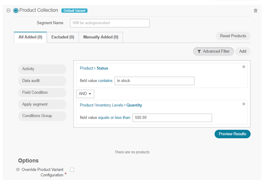 Filtering products for a product Collection in a web catalog