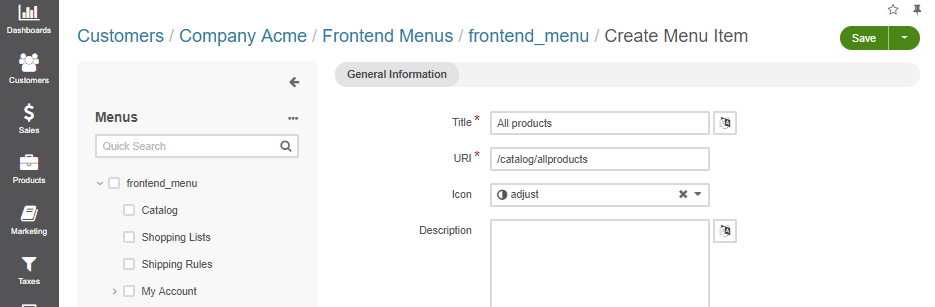 Adding the All Products page to the frontend menu for Acme Company