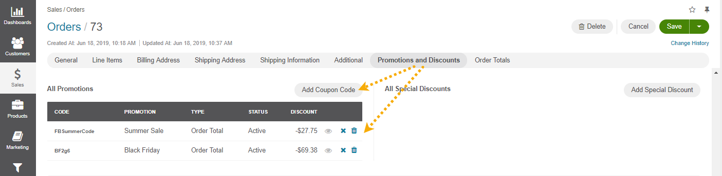 The actions you can perform with the coupons under All Promotions