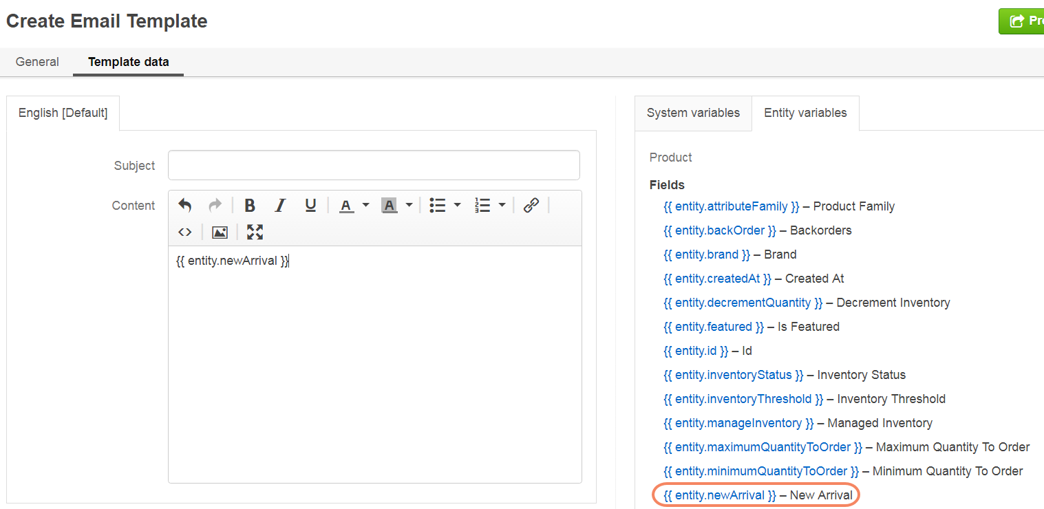 Add the attribute from the entity variables list to the email template