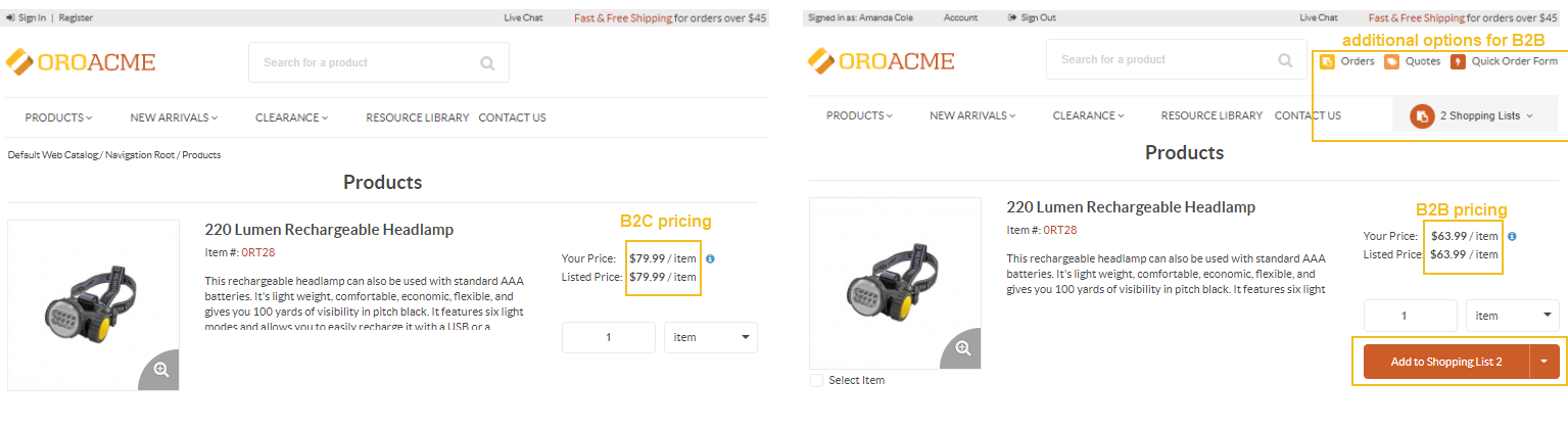 Different product pricing and additional options for B2B and B2C