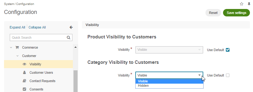 View the global visibility settings for products and categories under the system configuration page