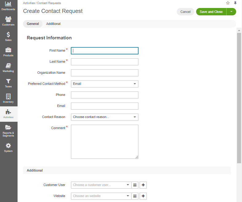 Display the additional section with the options to select a customer user or a website