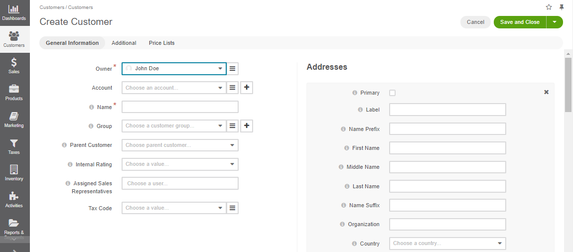 An empty form is displayed when creating a new customer