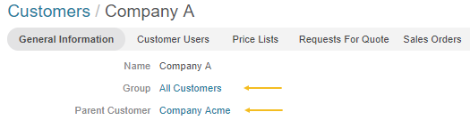 Click on the company name next to the parent customer to get to the parent company page