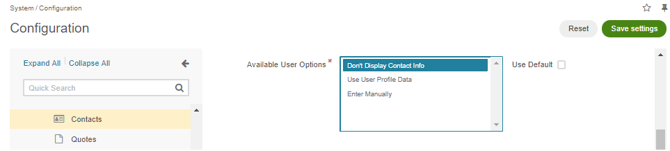 Selecting the Don't Display Contact Info option in the Available User Options section in the system configuration