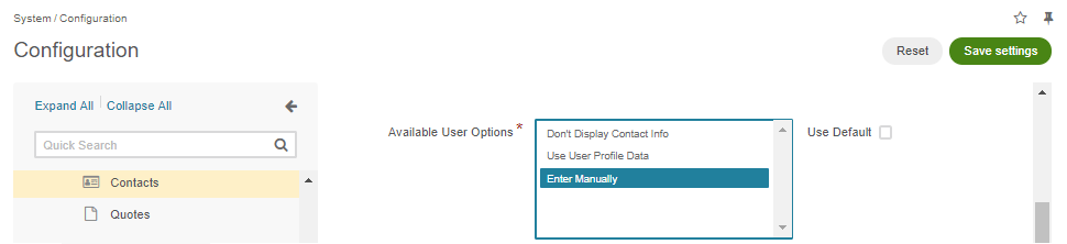 Selecting the Enter Manually option in the Available User Options section in the system configuration
