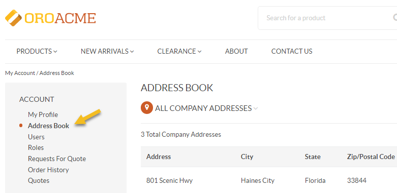 A sample of the Address Book menu in the storefront if the default theme is enabled