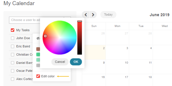 Change colors of your calendar