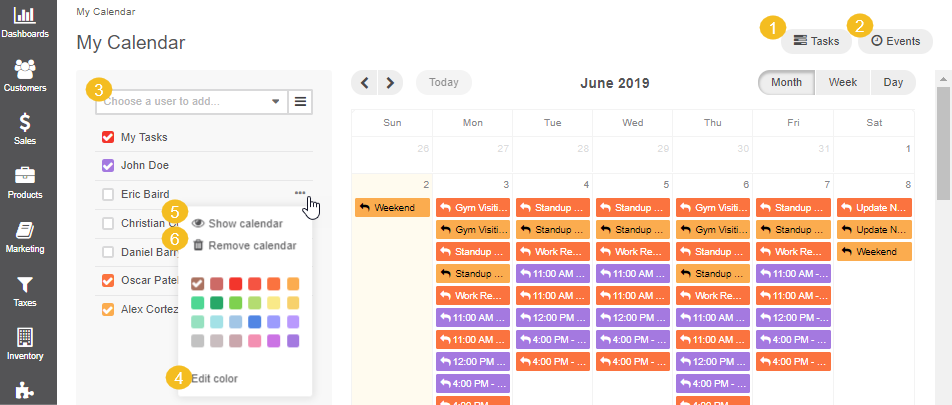 Available actions on your calendar page