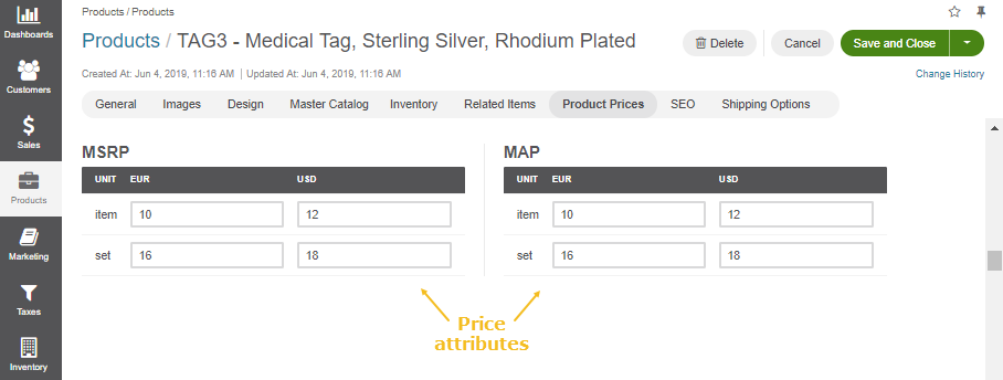 Display the location of the product price attributes