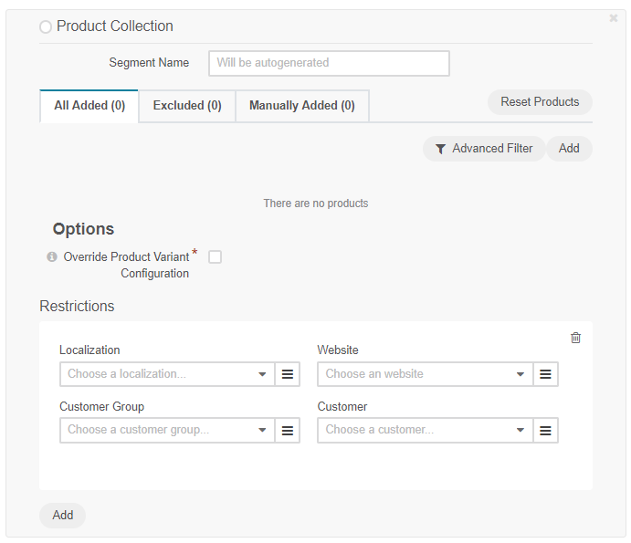 Add a product collection and specify the restrictions