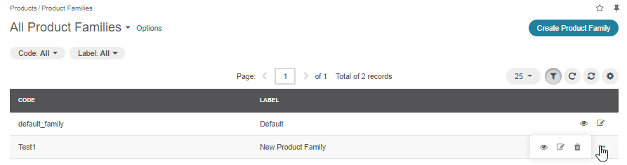 The actions available for product families from their general page