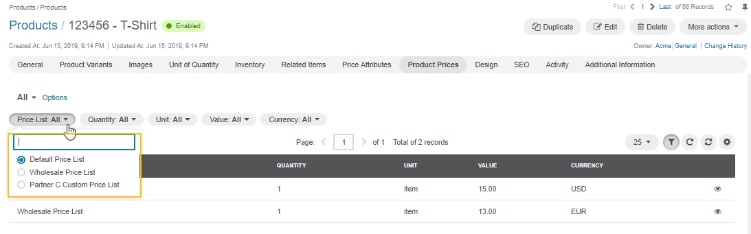 Filter by a price list, quantity, units, value, and currency is available in the Product Prices section