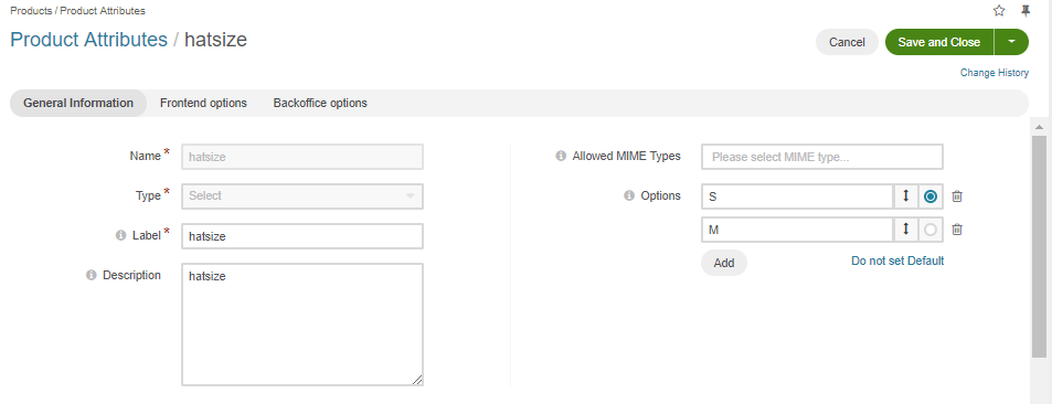 Create the HatSize product attribute with the s and m options