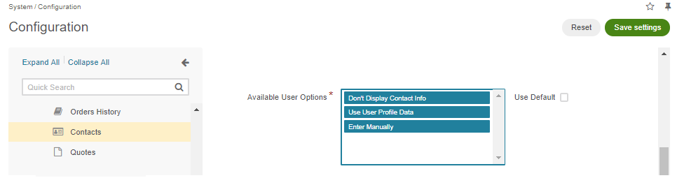 Selecting all options in the Available User Options section in the system configuration