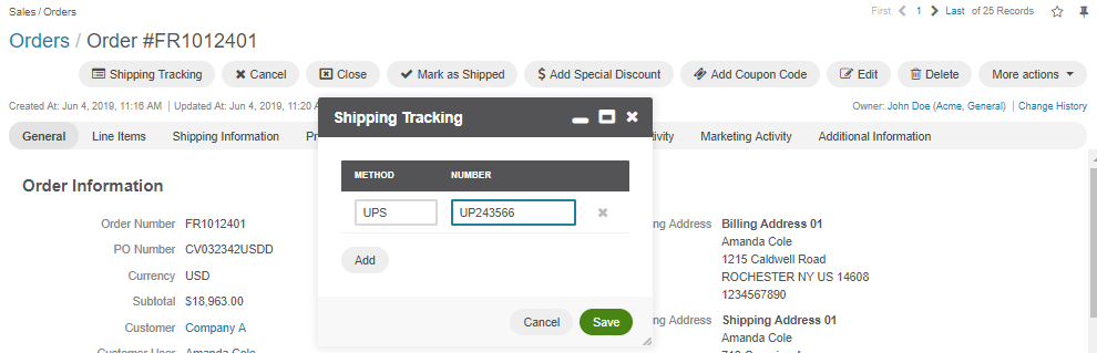 Enter the UPS tracking number