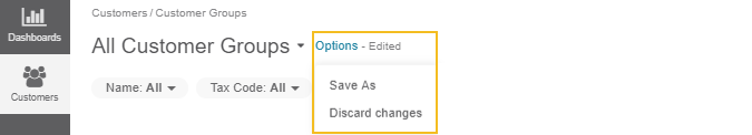 The list of available options under Options