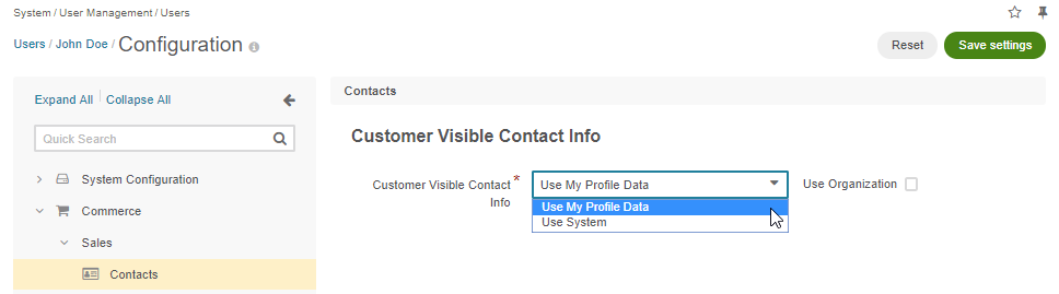The related user contact configuration settings