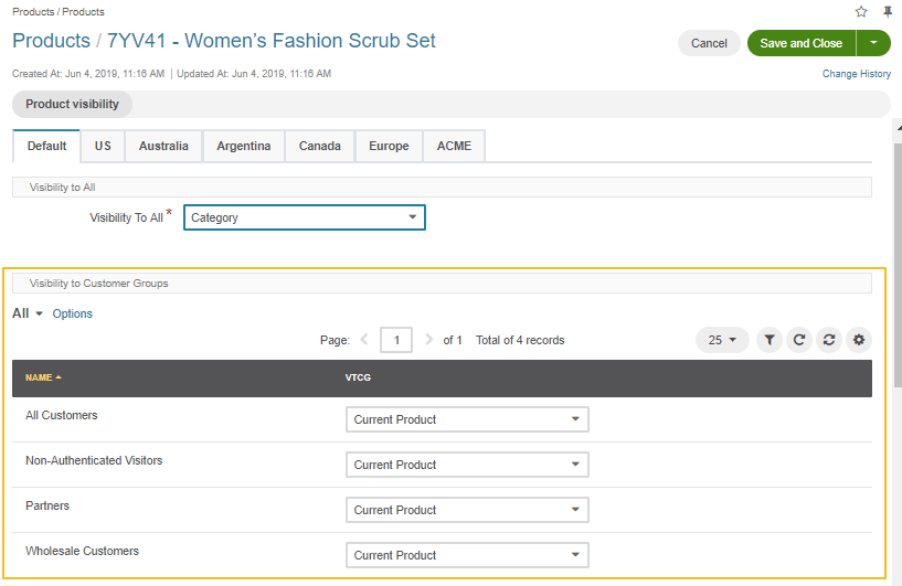 View the product Visibility to Customer Groups settings