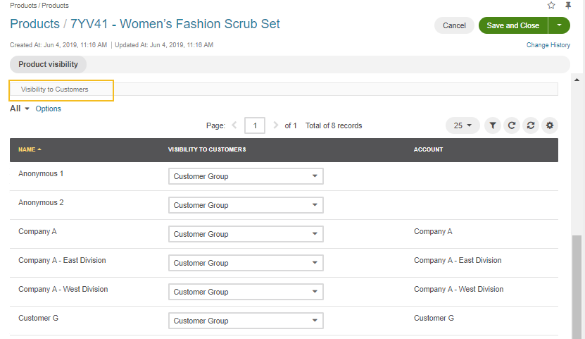 View the product Visibility to Customers settings