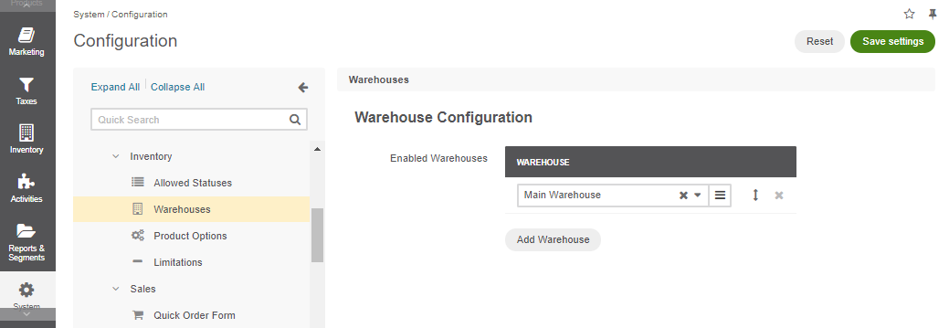 Global warehouses configuration settings