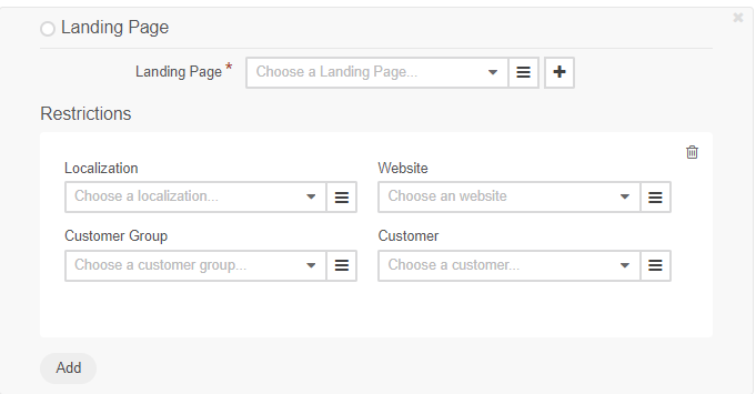 Add a landing page and specify the restrictions