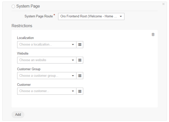 Add system page and specify restrictions