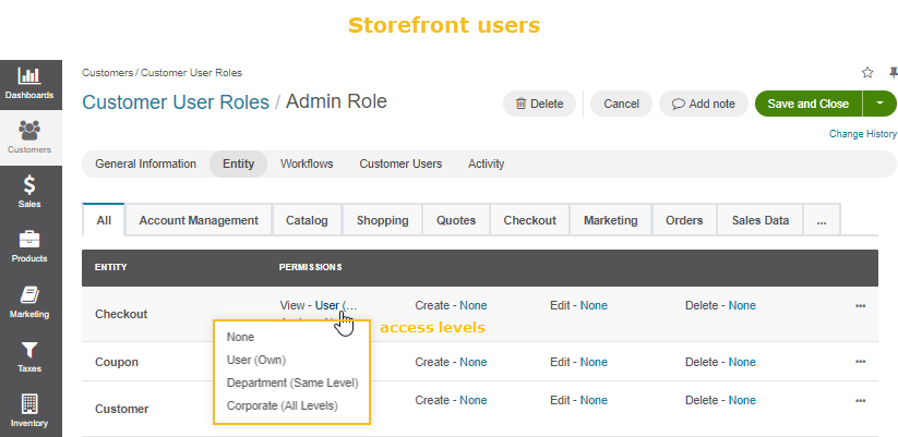 Access levels for storefront user roles