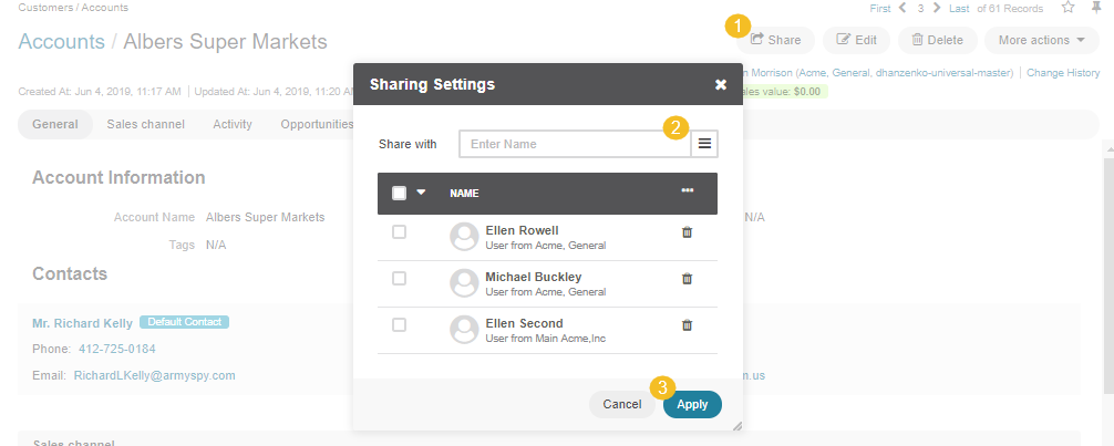 The sharing settings dialog displayed after clicking the share button on the account page