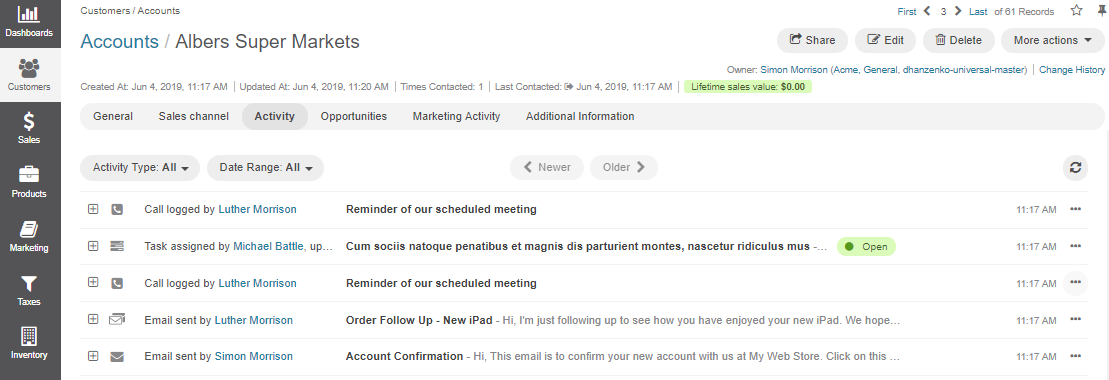 The activity section on the account page, displaying assigned tasks, added notes and calendar events, and logged calls