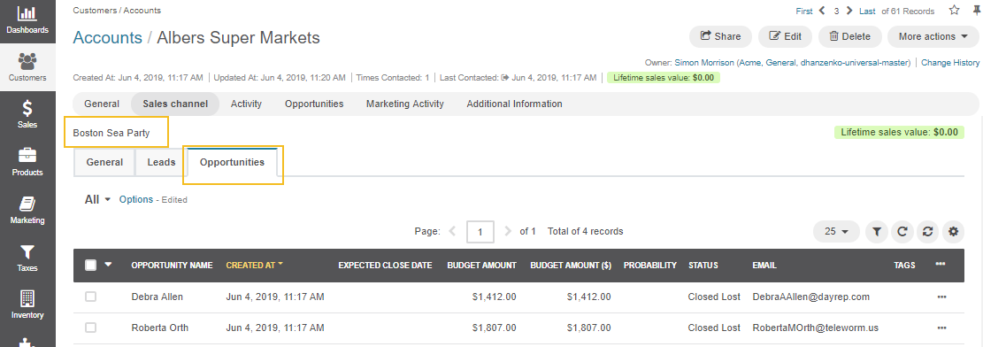 Opportunities for customers displayed in the sales channel on the account page