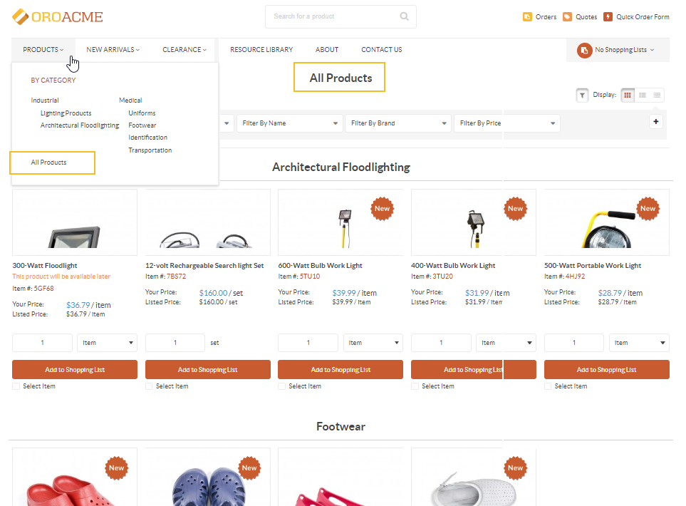 The All Products page on the OroCommerce storefront
