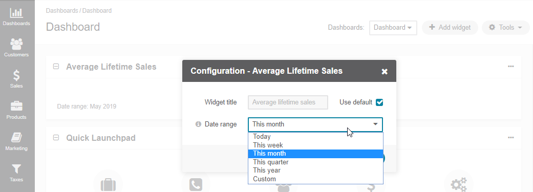 Configuring the average lifetime sales widget