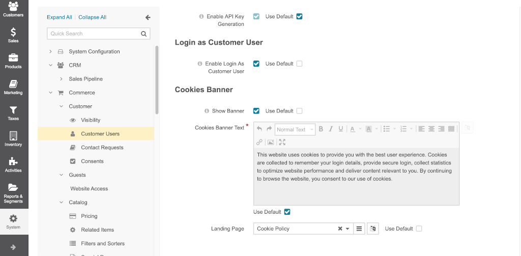 Cookie consent banner config