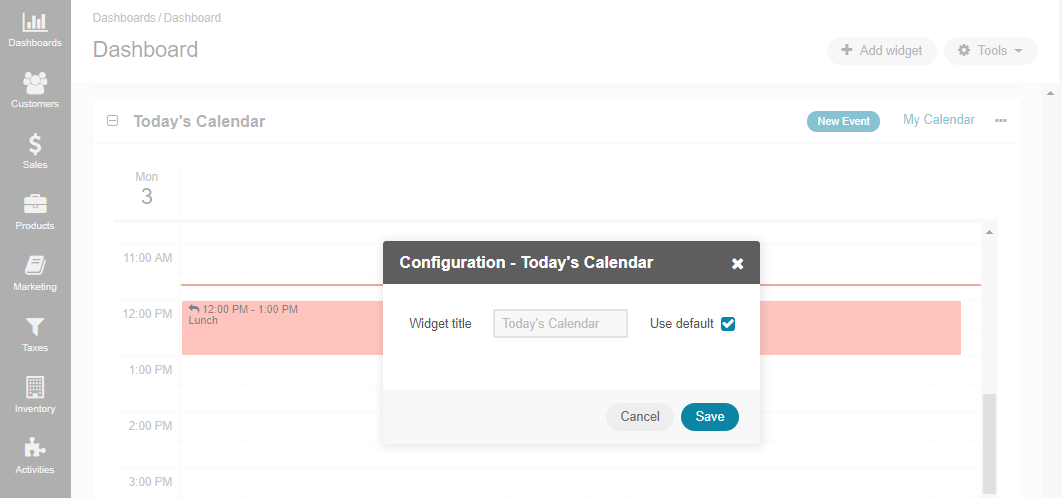 Configuring the Today's Calendar widget