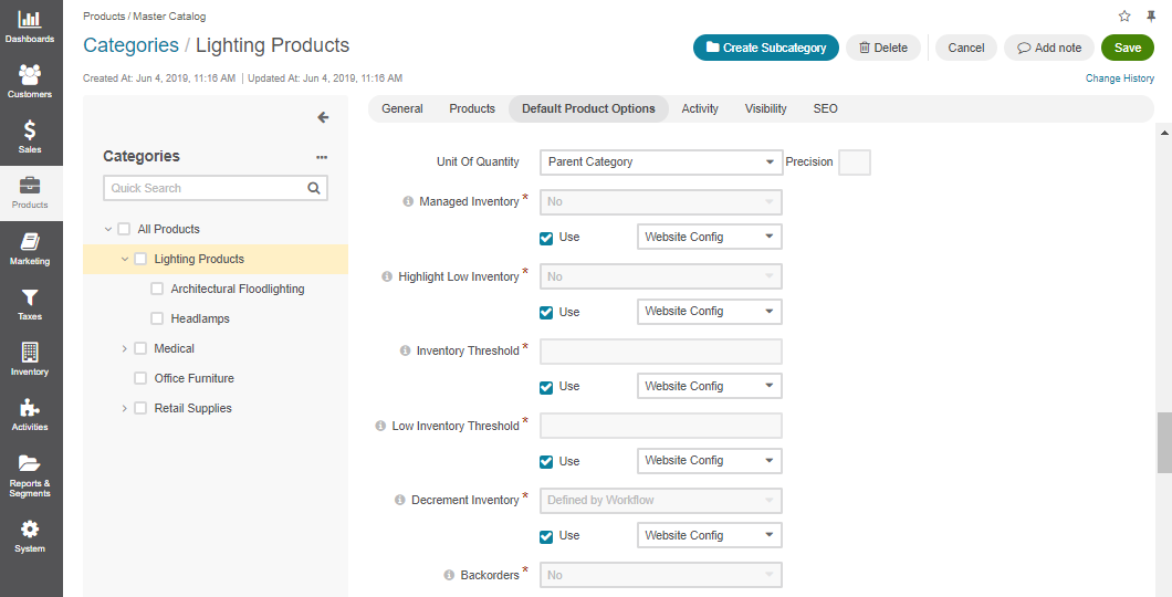 The default product options details page