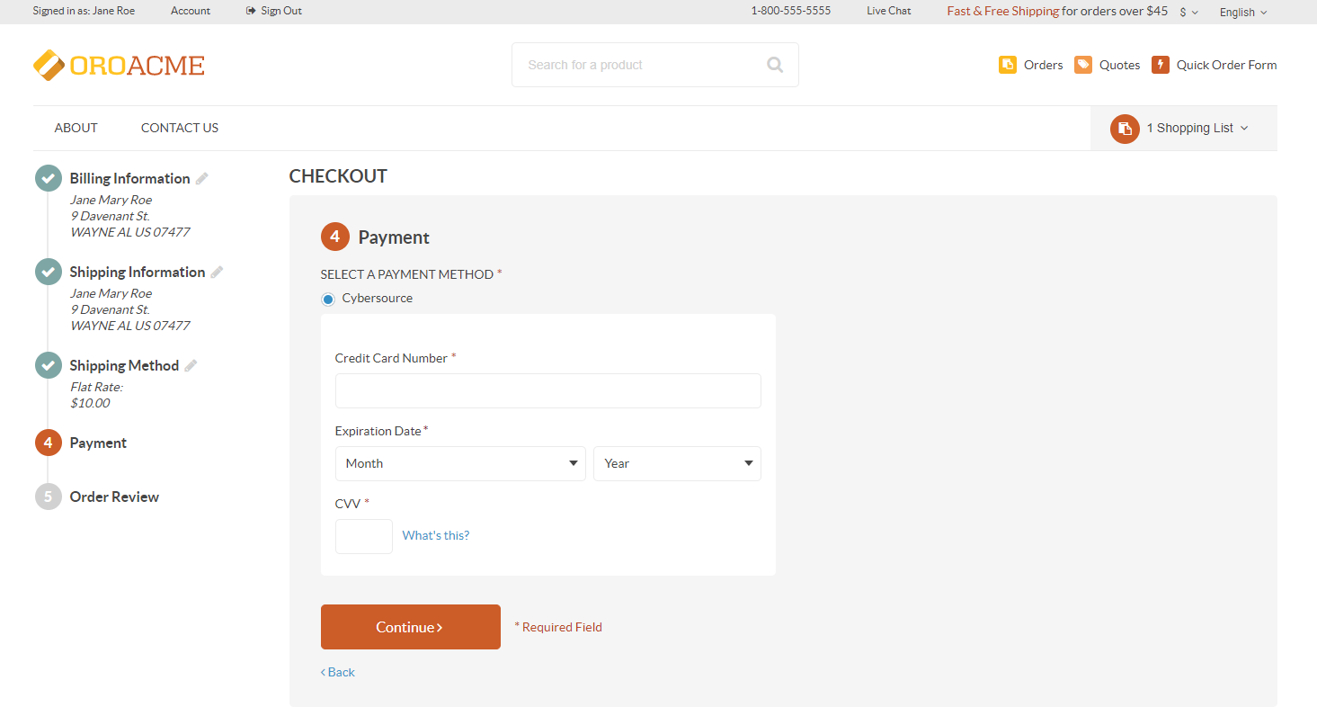Payment in the storefront with checkout API