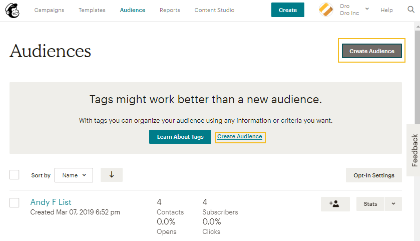 Create a new audience in MailChimp