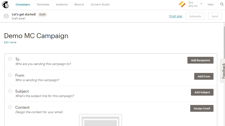 Steps for the campaign in mailchimp
