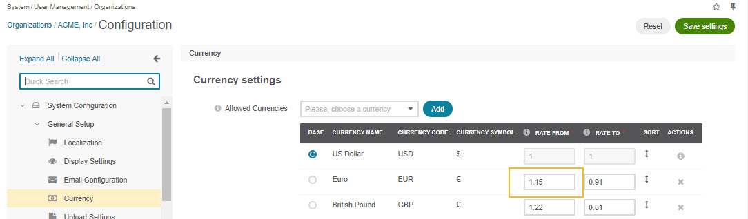 Changing currency in settings