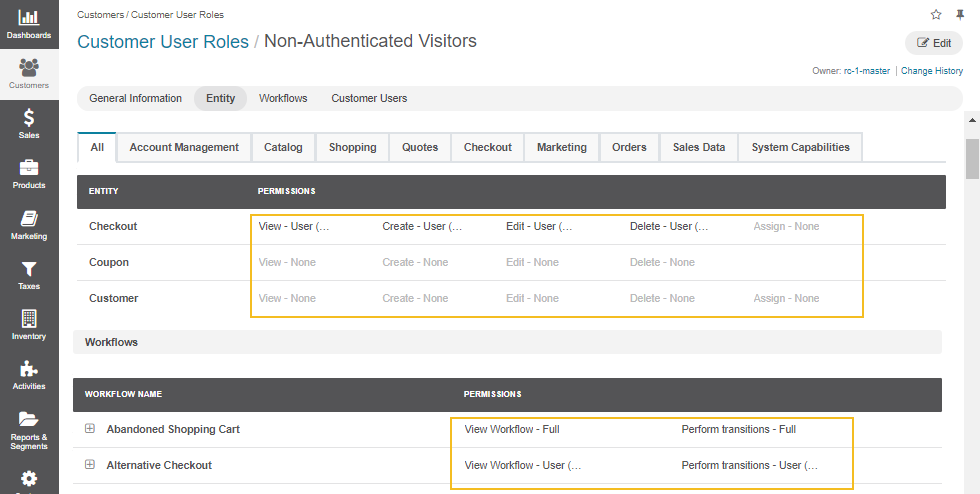 Customize permissions and access levels for guest customers