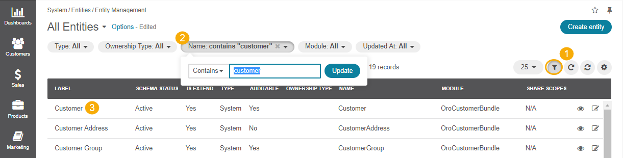 Navigating to the customer entity using filters