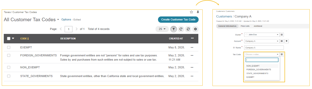 Illustration of applying customer tax codes to a customer