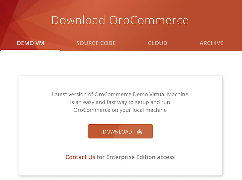 Download the OroCommerce virtual image