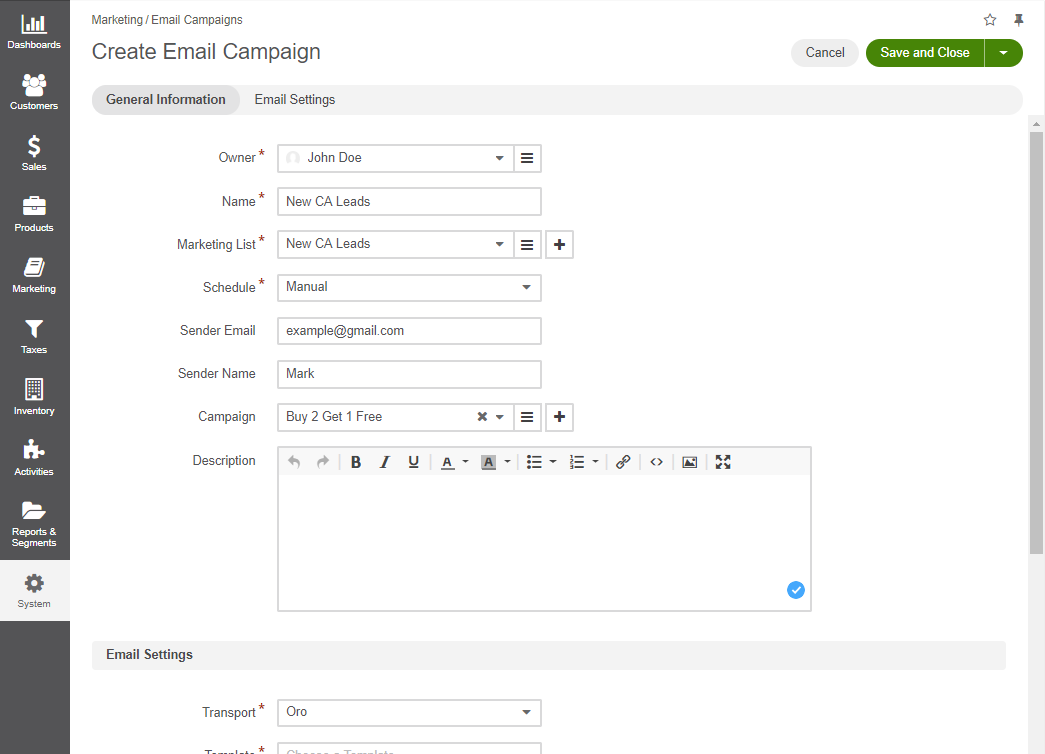 View the Create Email Campaign page