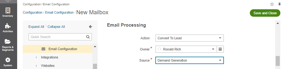 Selecting an owner and a source for processing the emails when the action is set to `convert to lead`