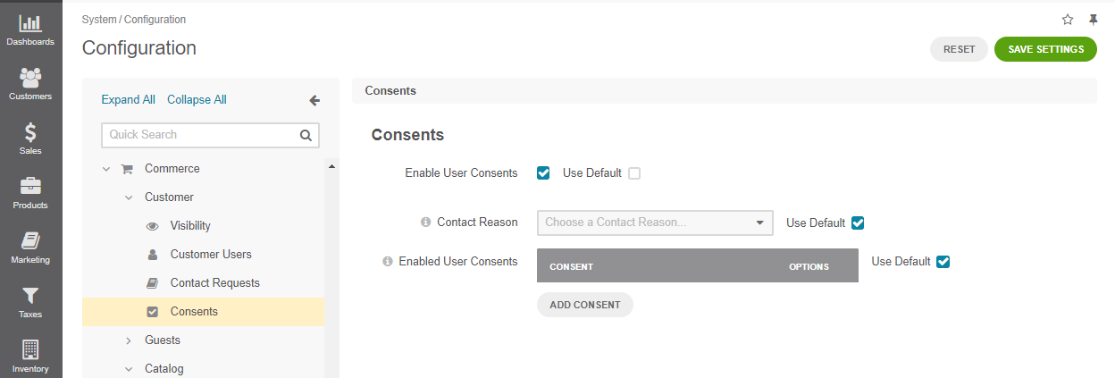 Enable consents checkbox on global level