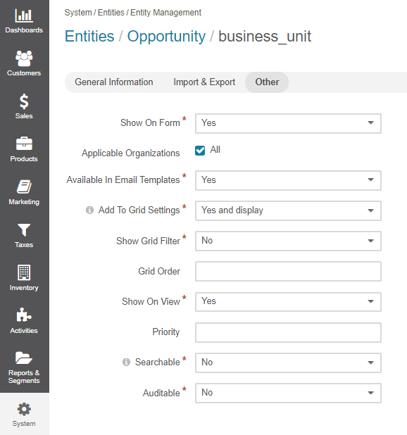 The general settings of the other section available when creating a new entity field