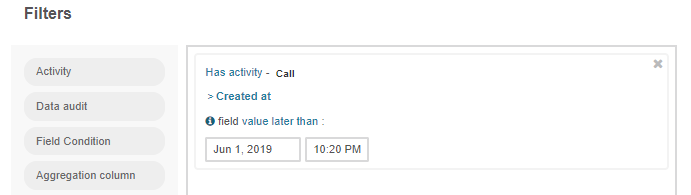 Creating a filter condition for the calls that were logged after June 1, 2019.